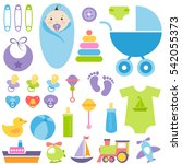 set of baby boy elements.... | Shutterstock . vector #542055373