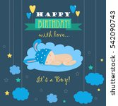 baby theme. it s a boy card | Shutterstock .eps vector #542090743