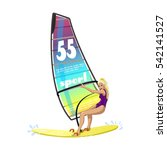 windsurfing water sports on the ... | Shutterstock .eps vector #542141527