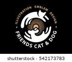 Stock vector cat and dog friends emblem logo design 542173783