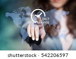 businesswoman pressing 24 7... | Shutterstock . vector #542206597