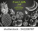 fruits top view frame. farmers... | Shutterstock .eps vector #542208787