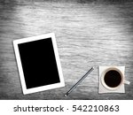 wooden desk table with tablet... | Shutterstock . vector #542210863