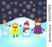 snowman  vector illustration.... | Shutterstock .eps vector #542227003
