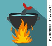 cooking fish soup on a fire... | Shutterstock .eps vector #542266057