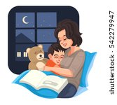 mother tell story with her son... | Shutterstock .eps vector #542279947
