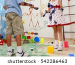 two children play paint brush...   Shutterstock . vector #542286463