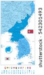 korean peninsula map in colors... | Shutterstock .eps vector #542301493