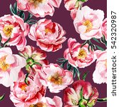 watercolor pattern with peony... | Shutterstock . vector #542320987