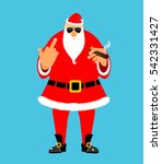 bad santa with cigar and fuck.... | Shutterstock .eps vector #542331427