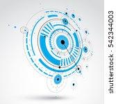 3d modular wallpaper. retro... | Shutterstock . vector #542344003