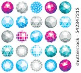 set of dimensional wireframe... | Shutterstock . vector #542347213