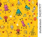 cartoon robot characters... | Shutterstock .eps vector #542357977