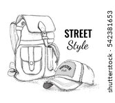 hand drawn vector backpack and...   Shutterstock .eps vector #542381653