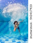funny portrait of boy swimming... | Shutterstock . vector #542417923