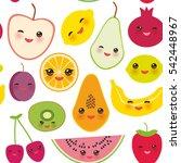 seamless pattern strawberry... | Shutterstock . vector #542448967