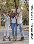 Girls Taking Selfie On The Park