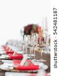 empty glasses set in restaurant.... | Shutterstock . vector #542481187
