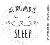 Stock vector cute cat all you need is sleep inscription hand drawn t shirt design or greeting card vector 542501083