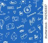 hand drawn travel seamless... | Shutterstock .eps vector #542520337