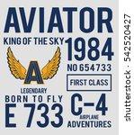 vintage vector airplane ... | Shutterstock .eps vector #542520427