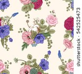 seamless pattern with flowers.... | Shutterstock .eps vector #542525473