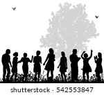 a large crowd of silhouettes... | Shutterstock .eps vector #542553847