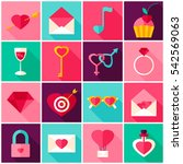 valentines day colorful icons.... | Shutterstock .eps vector #542569063