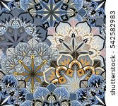 seamless round ornament pattern ... | Shutterstock .eps vector #542582983