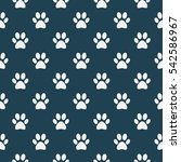 cat of dog paw pattern   vector ... | Shutterstock .eps vector #542586967