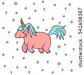 cute vector unicorn   hand...   Shutterstock .eps vector #542608387