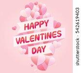 vector of happy valentines day... | Shutterstock .eps vector #542619403