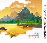 beautiful evening landscape of... | Shutterstock .eps vector #542622613