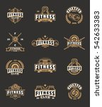 set bodybuilding badges ... | Shutterstock .eps vector #542633383
