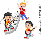 cartoon happy kids singing and... | Shutterstock .eps vector #542635327