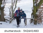 sitting on a bench in winter | Shutterstock . vector #542641483