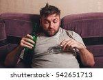 Small photo of Alcohol addicted man smoke cigarette
