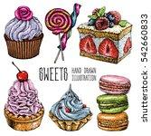 hand drawn dessert collection.... | Shutterstock .eps vector #542660833