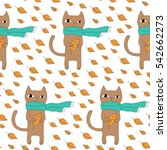 cartoon animal pattern with... | Shutterstock .eps vector #542662273