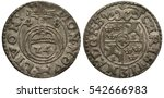 Small photo of Livonia Livonian silver coin 1/24 one twenty fourth of a thaler 1648, Riga, Swedish administration, cross of the orb divides date, mintmark dog, shield with lions, Swedish crowns, ruler Christina