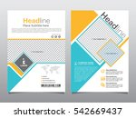 blue and yellow square shape... | Shutterstock .eps vector #542669437
