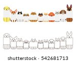 Stock vector cats and dogs border set with small blank board in each mouth 542681713