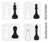monochrome icons set with chess ...