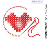 vector cross stitch heart with...