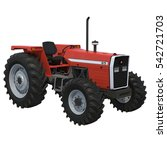 Retro Tractor On White. 3d...