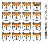 fox emotional emoji square flat ... | Shutterstock .eps vector #542727223