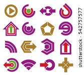 flat app buttons. collection of ... | Shutterstock . vector #542757577