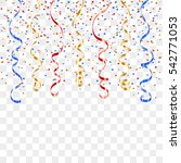 gold blue red curly ribbon... | Shutterstock .eps vector #542771053