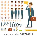 Businessman or male person character creation set.Collection of  emotions.Different men`s hairstyles,bended hands and legs.Side view,front,back of businessman.Vector elements for character animation | Shutterstock vector #542774917