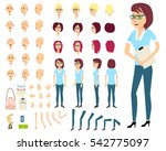 Businesswoman or female person constructor.Set of various emotions on pretty feminine face.Different women's hairstyles,bended hands, legs.Side view,front,back of woman.Vector elements for animation | Shutterstock vector #542775097